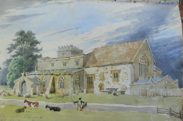 watercolour by Bradford Rudge of Wolfhamcote church