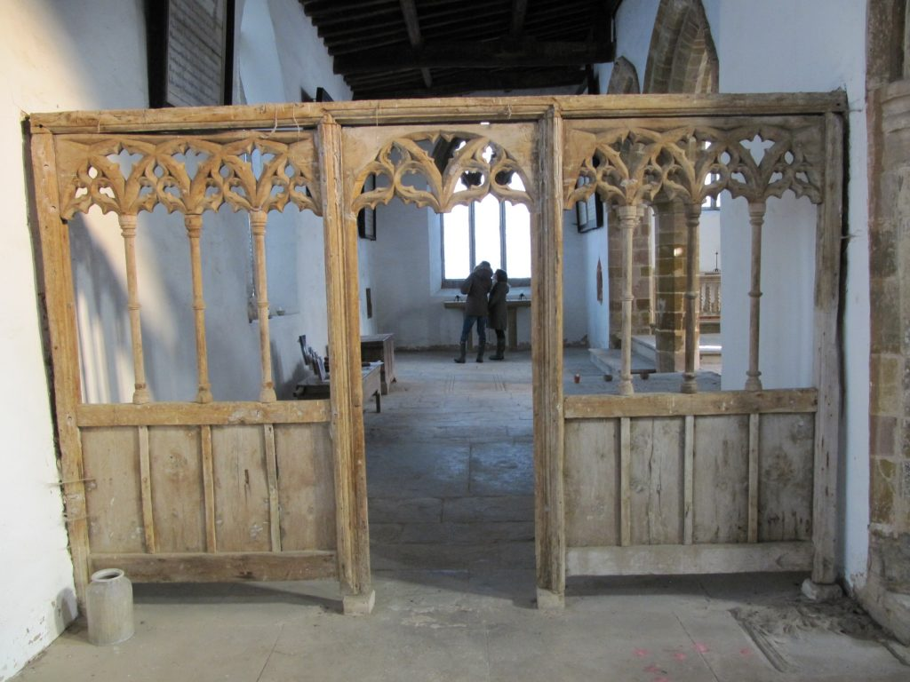 wolfhamcote church carved screen